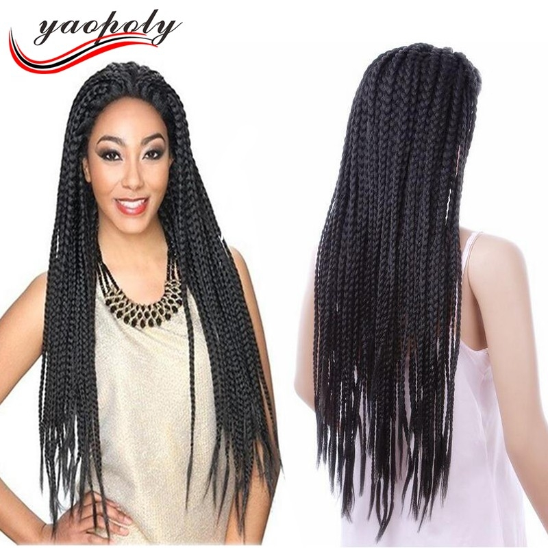 Trend synthetic 3x box micro braid lace wig hair braided lace African American Micro Braid Wigs Designs