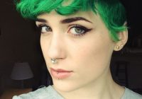 Awesome 24 dyed hairstyles you need to try short green hair short Dye Short Hair Styles Choices
