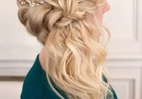 Awesome pin on hairflowers face Romantic Prom Hairstyle For Long Hair With Braided Flower Choices