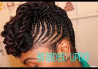 Cozy braided updo on natural hair Braided Updos African American Hair