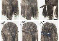 Elegant first create a half ponytail then create two braids and Cute Easy Hairstyles For Short Wavy Hair Inspirations