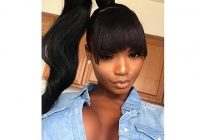 Elegant ponytail with bangs styles high ponytail hairstyles weave African American Ponytail Hairstyles With Bangs Designs