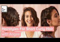 Fresh 3 easy hairstyles for short curly hair with and without heat Hairstyles For Short Curly Hair Ideas
