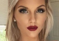Stylish amazing makeup with red lips short hairstyle makeup Makeup For Short Hair Styles Choices